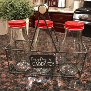 Super cute milk jars and wire carrying basket